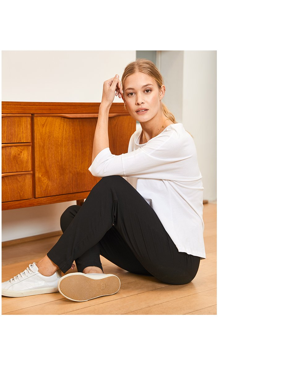 Shop Kendra Organic Top Pure White, Neath Pant with LENZING™ ECOVERO™ Caviar Black and more
