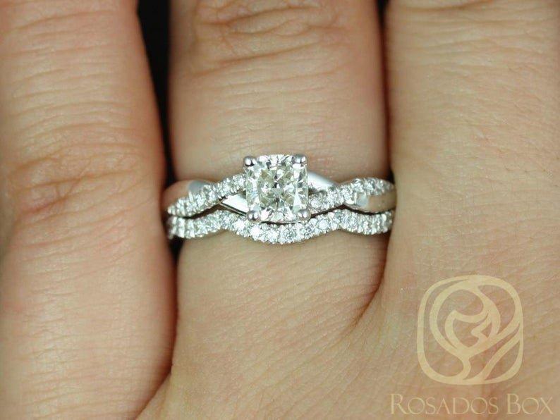 Diamond Pave Twisted Vine Ring Set