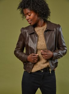 Shop Sacha Leather Bomber Jacket Dark Chocolate Brown and more