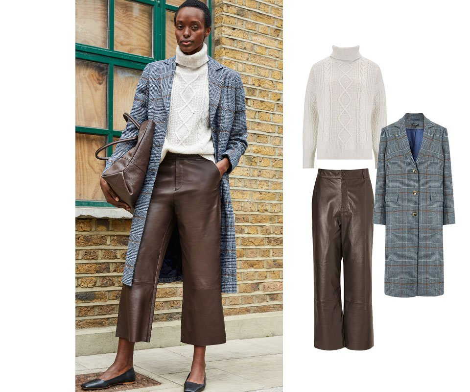 Shop Sacha Leather Trousers Dark Chocolate Brown, Agnes Coat Blue Check, Carrie Recycled Wool Jumper Cream and more