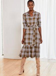 Shop Cynthia Dress Khaki Check and more