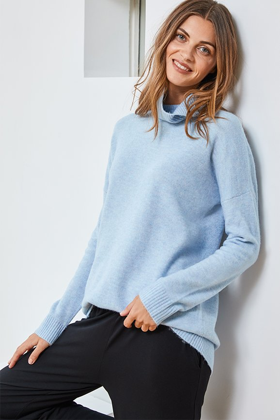 Shop Reena Roll Neck Jumper Dusted Blue, Palazzo Wide Leg Trousers with LENZING™ ECOVERO™ Caviar Black and more