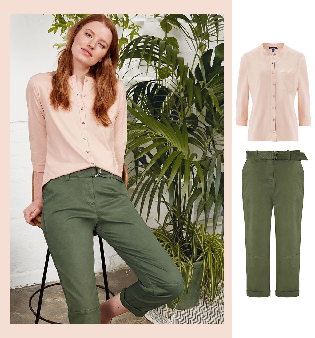 Shop Easter Organic Cargo Trousers Khaki, Zoe Organic Shirt and more