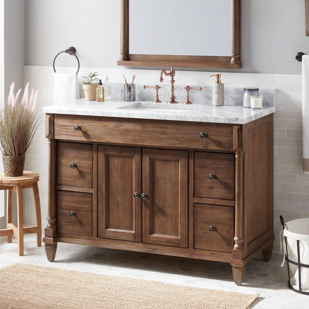 48 Neeson Vanity For Rectangular Undermount Sink Rustic Brown Bathroom
