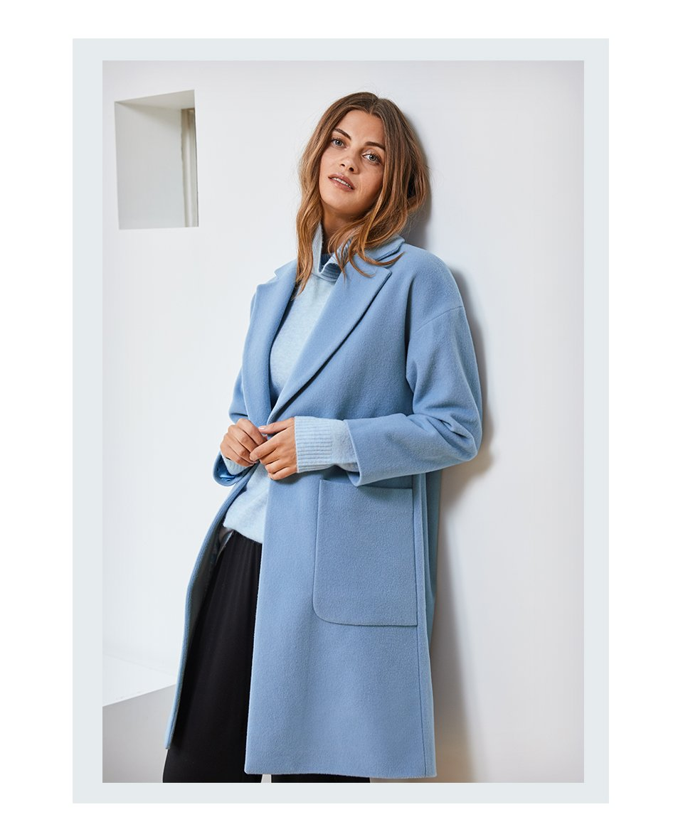 Shop Reena Roll Neck Jumper Dusted Blue, Palazzo Wide Leg Trousers and more