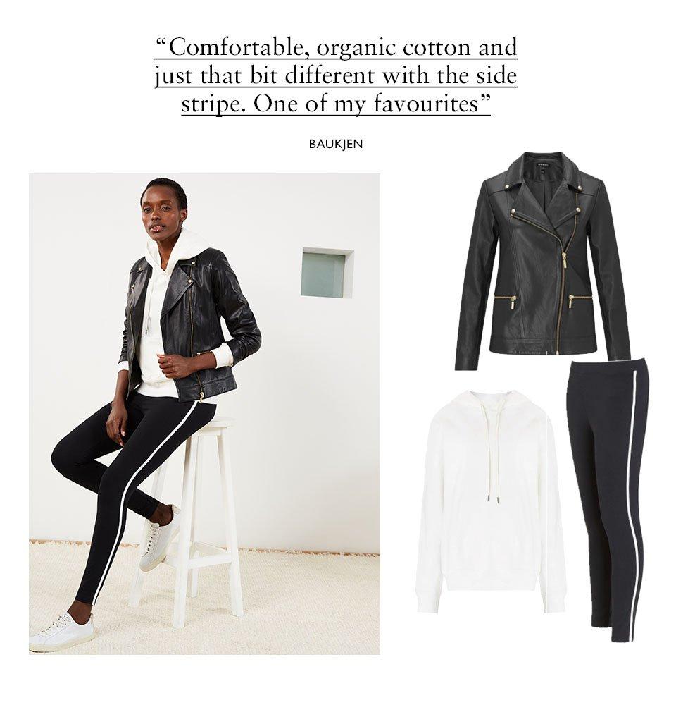 Shop Kara Leather Jacket Caviar Black, Marte Organic Hoodie Soft White, Abbey Organic Cotton Leggings Caviar Black & Soft White and more