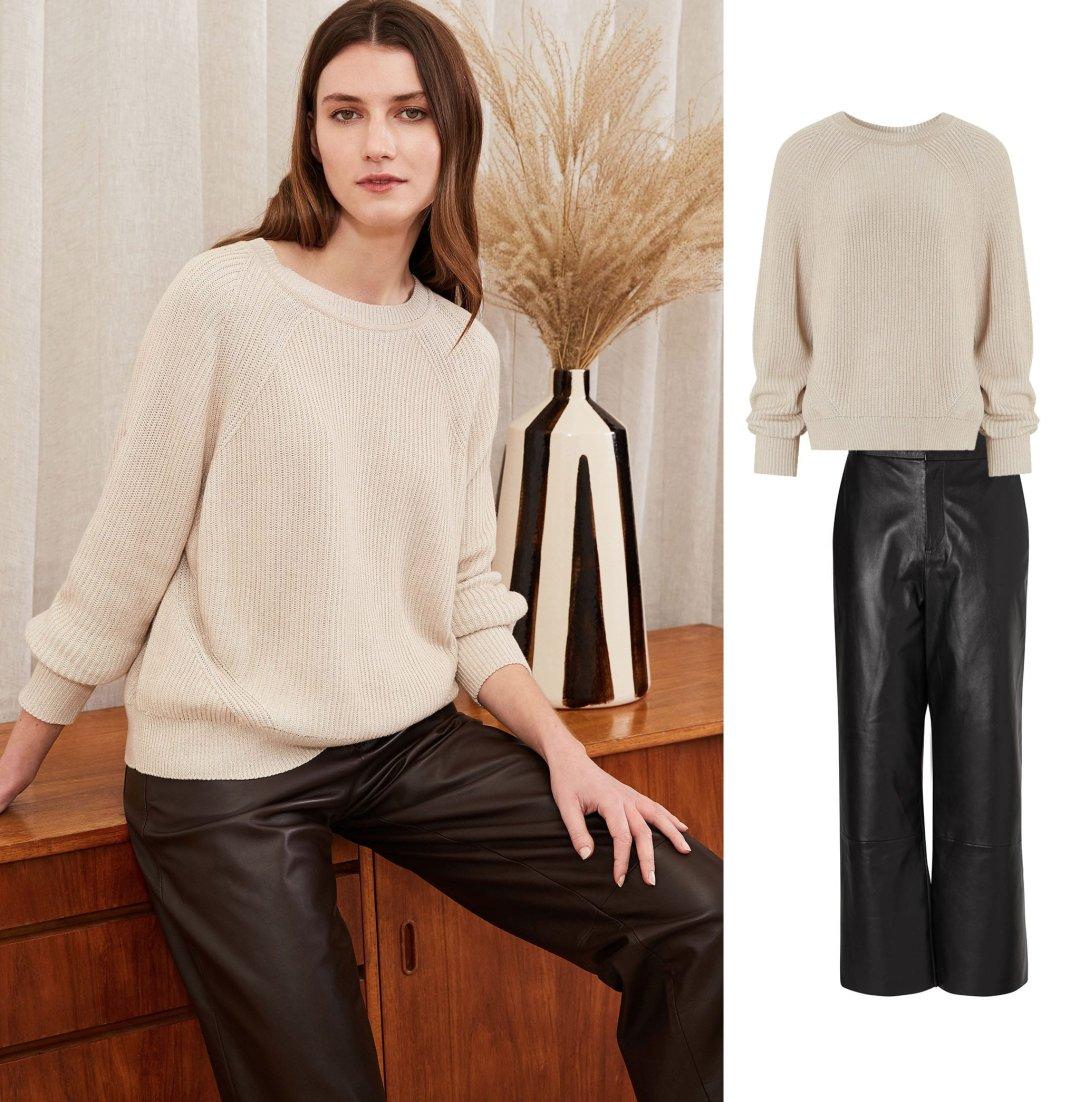 Shop Simone Ecotec® Jumper, Sacha Leather Trousers Caviar Black and more