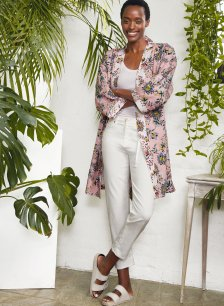 Shop Clementine Organic Robe Rose Jacobean Print and more