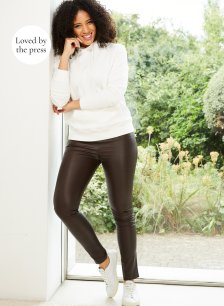Shop Liv Leather Leggings Dark Chocolate Brown and more