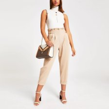 Shop River Island Womens Beige tab waist utility trousers and more