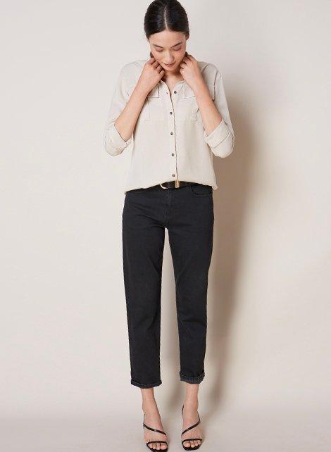 Shop Ellen Safari Shirt, Boyfriend Jean Black Wash, Baukjen Signature Gold Buckle Belt Caviar Black and more