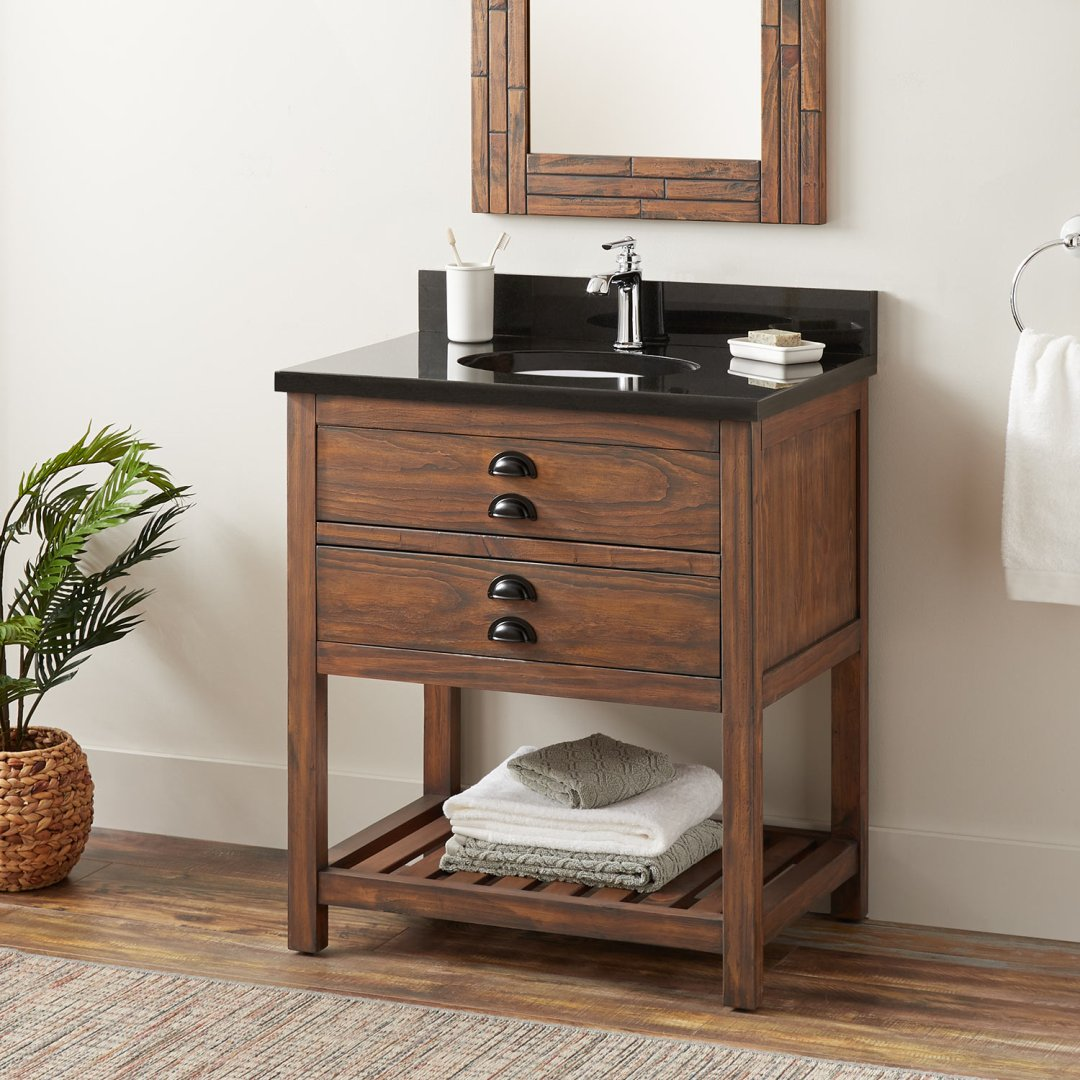 30 Ansel Console Vanity Undermount Sink Farmhouse Brown