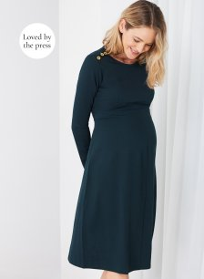 Shop Isabella Oliver Paige Maternity Button Dress-Military Green and more