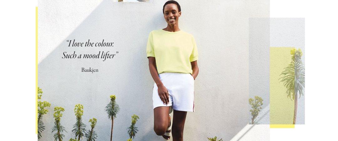 Shop Lara Organic Top Lemon Sorbet, Harmony Organic Shorts Pure White & Rainbow and more