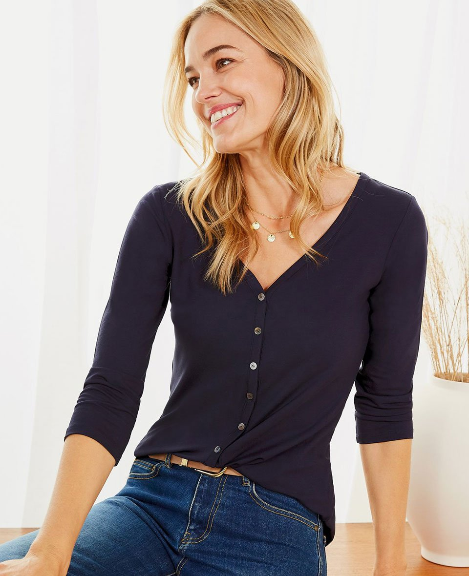Shop Emme Ecovero™ Button Top Classic Navy, The Girlfriend Jean Washed Blue and more