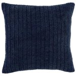 Kosas Home Marcie Knitted 22-inch Throw Pillow (Indigo), Blue(Linen, Solid Color)