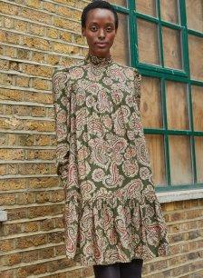 Shop Regina Smock Dress Khaki Paisley Print and more