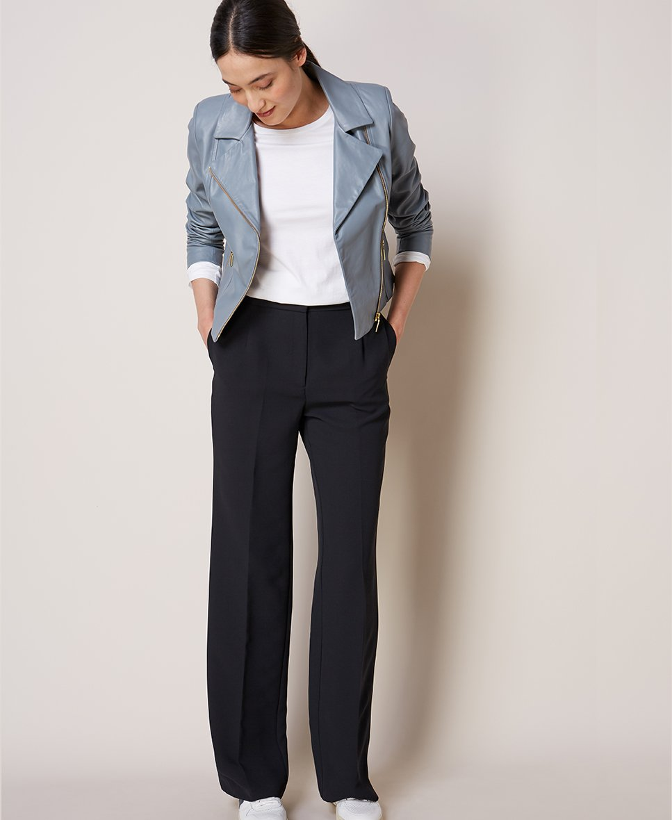 Shop Everyday Leather Biker Jacket Storm Blue, Baukjen Cotton Long Sleeve Top, Clio Wide Leg Trousers Caviar Black and more