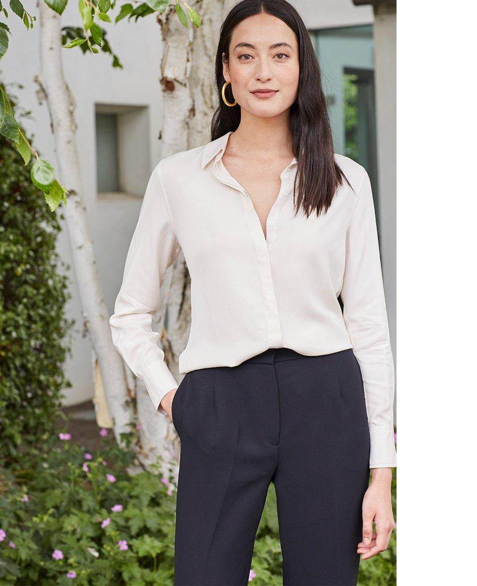 Shop Elena Shirt Cream, Clio Wide Leg Trousers Caviar Black and more