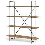 Ailis Brown Wood/Metal 4-shelf Etagere Bookcase (Walnut), Black