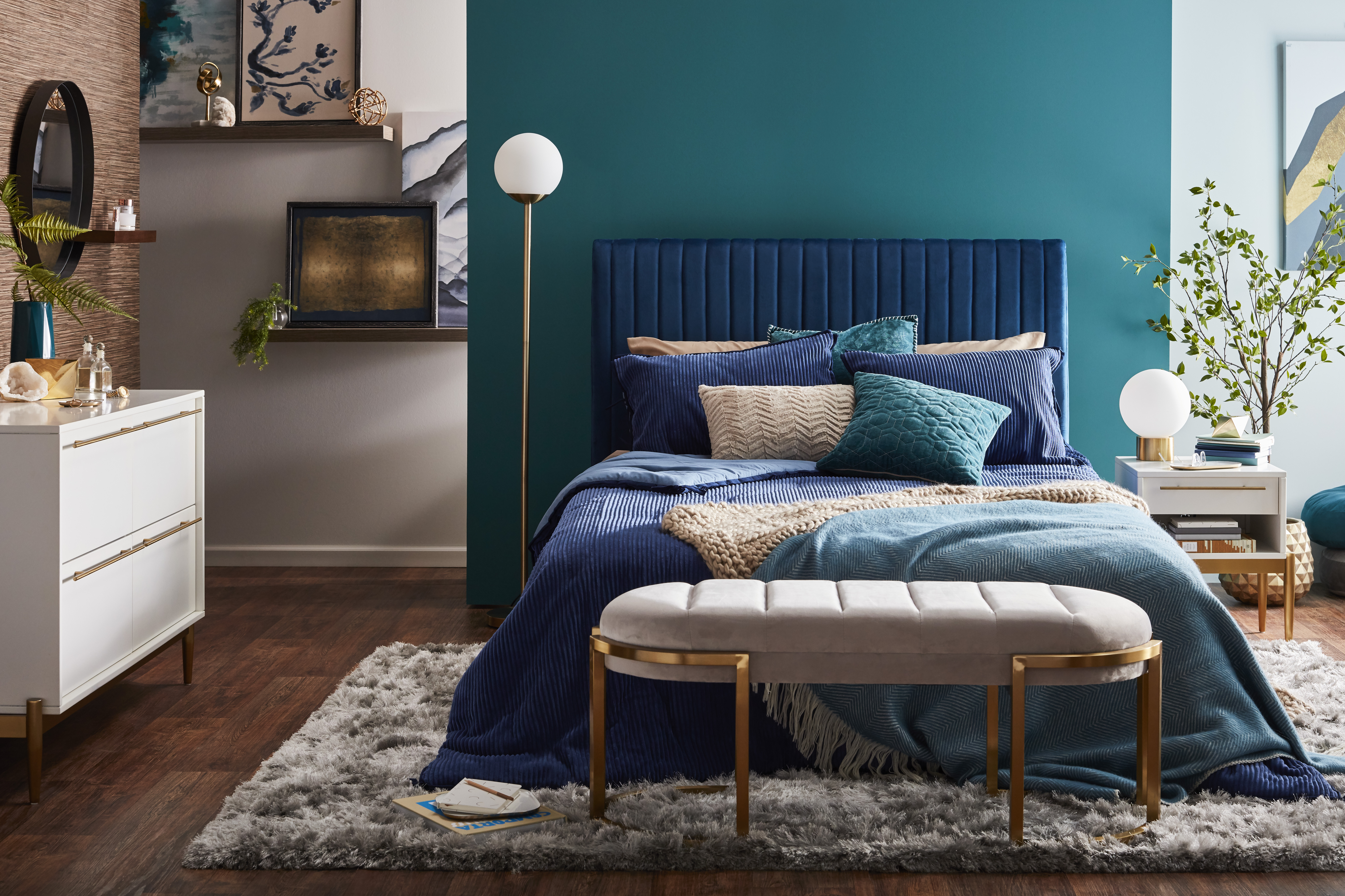 Modrn serene luxury bedroom Instagram Post