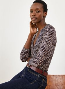 Shop Chamille Top Navy Chain Print and more