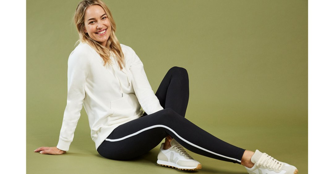 Shop Marte Organic Hoodie Soft White, Abbey Organic Cotton Leggings Caviar Black & Soft White and more