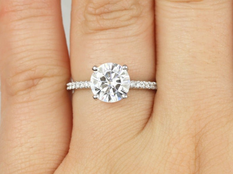 white gold pave band with round Moissanite Diamond center stone