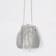 Shop River Island Womens Silver diamante tassel cliptop bag and more