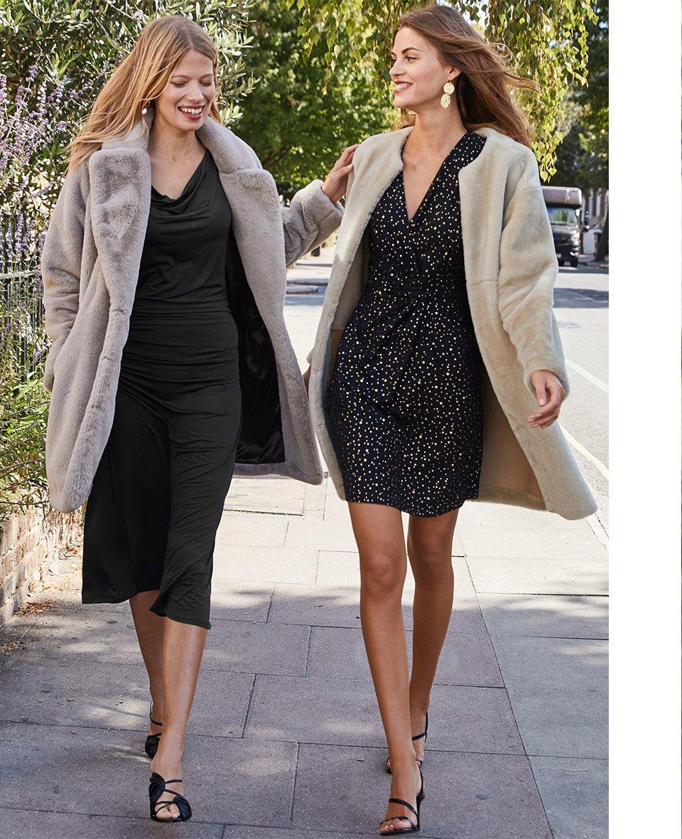 Shop Shearling Coat, Luella Dress Black with Gold Stars, Magda Dress Caviar Black and more