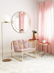 Shop Modern Velvet Accent Chair, Pink and more