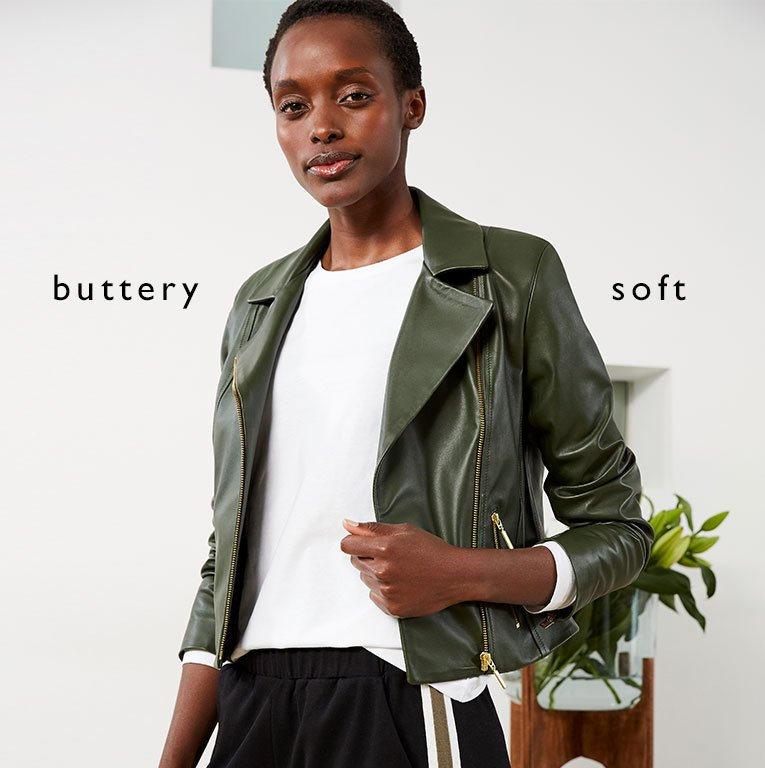 Shop Everyday Leather Biker Jacket Dark Chocolate Brown, Baukjen Organic Cotton Long Sleeve Top Pure White and more