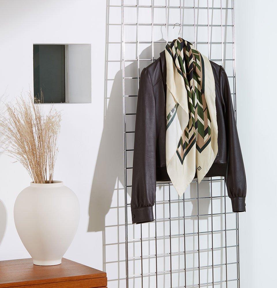 Shop Rey Silk Scarf Khaki & Beige Herringbone, Sacha Leather Bomber Jacket Dark Chocolate Brown and more