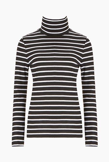 Shop Rhona Turtleneck Black & Pure White Stripe and more