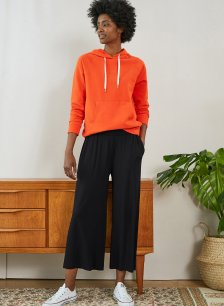 Shop Cropped Palazzo Trouser with LENZING™ ECOVERO™ Caviar Black and more