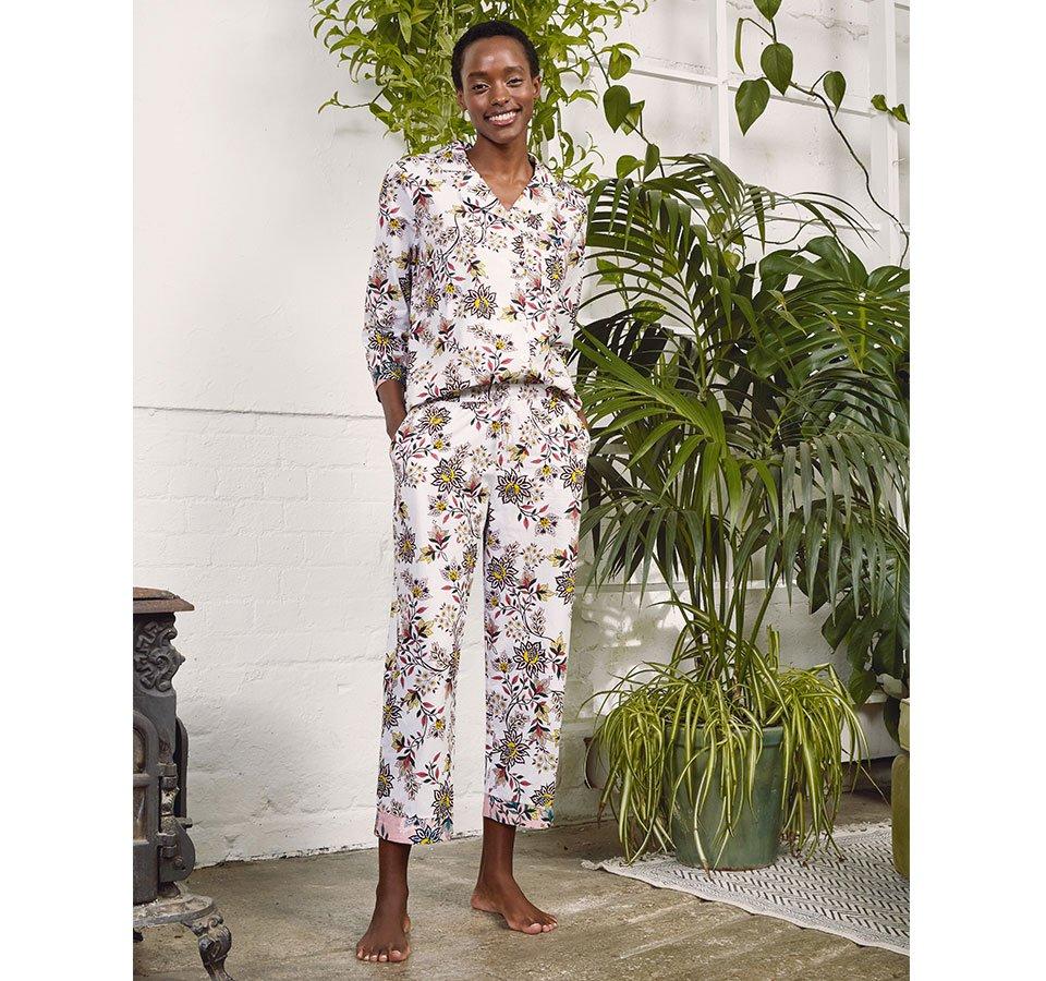 Shop Clementine Organic Pyjamas White Jacobean Print and more