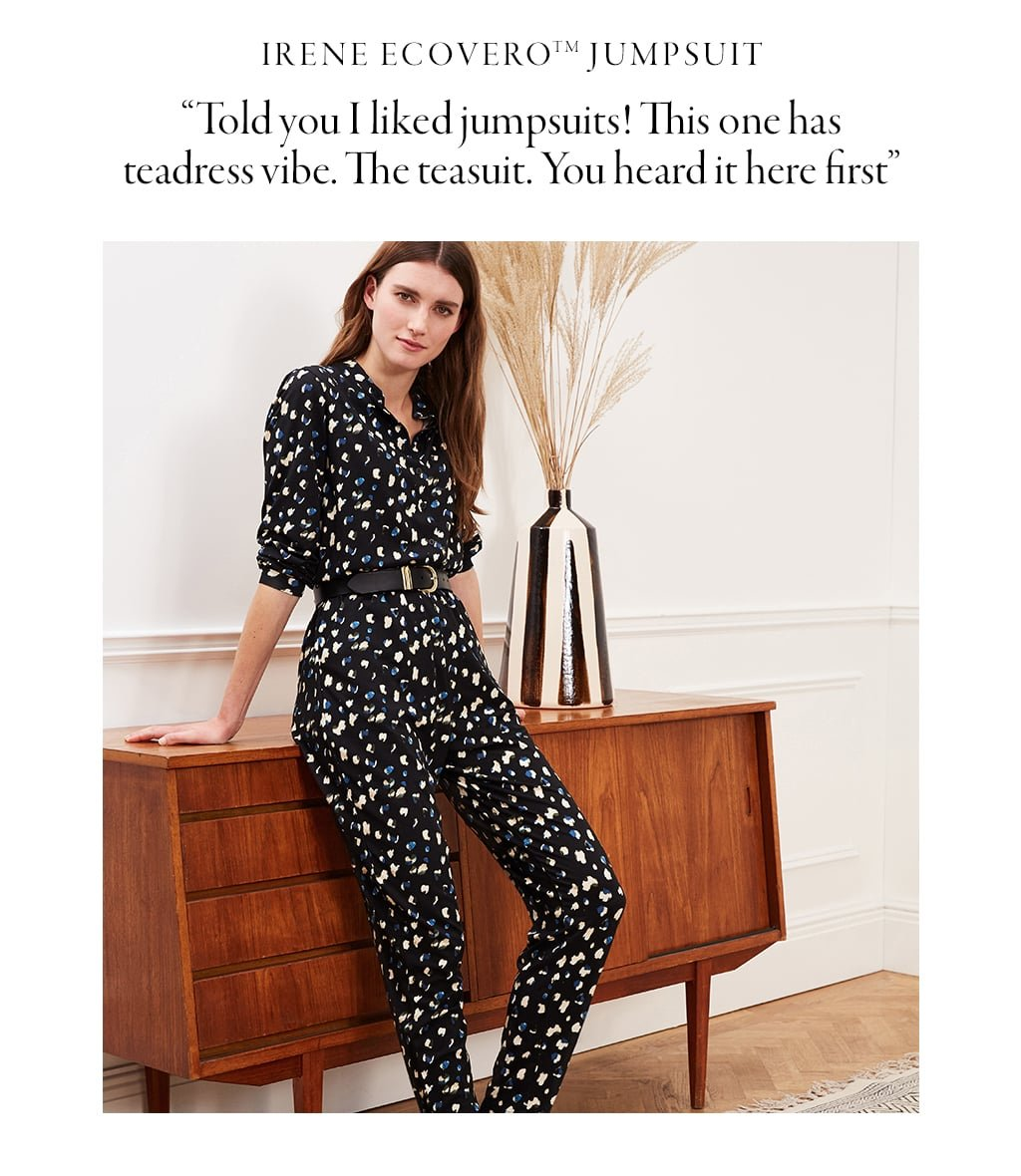 Shop Irene Jumpsuit with LENZING™ ECOVERO™ Black Brush Spot and more