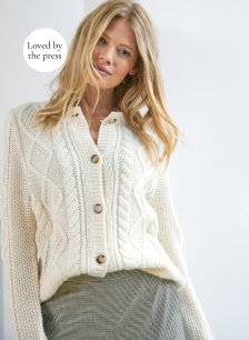 Shop Margot Cable Cardigan Cream and more