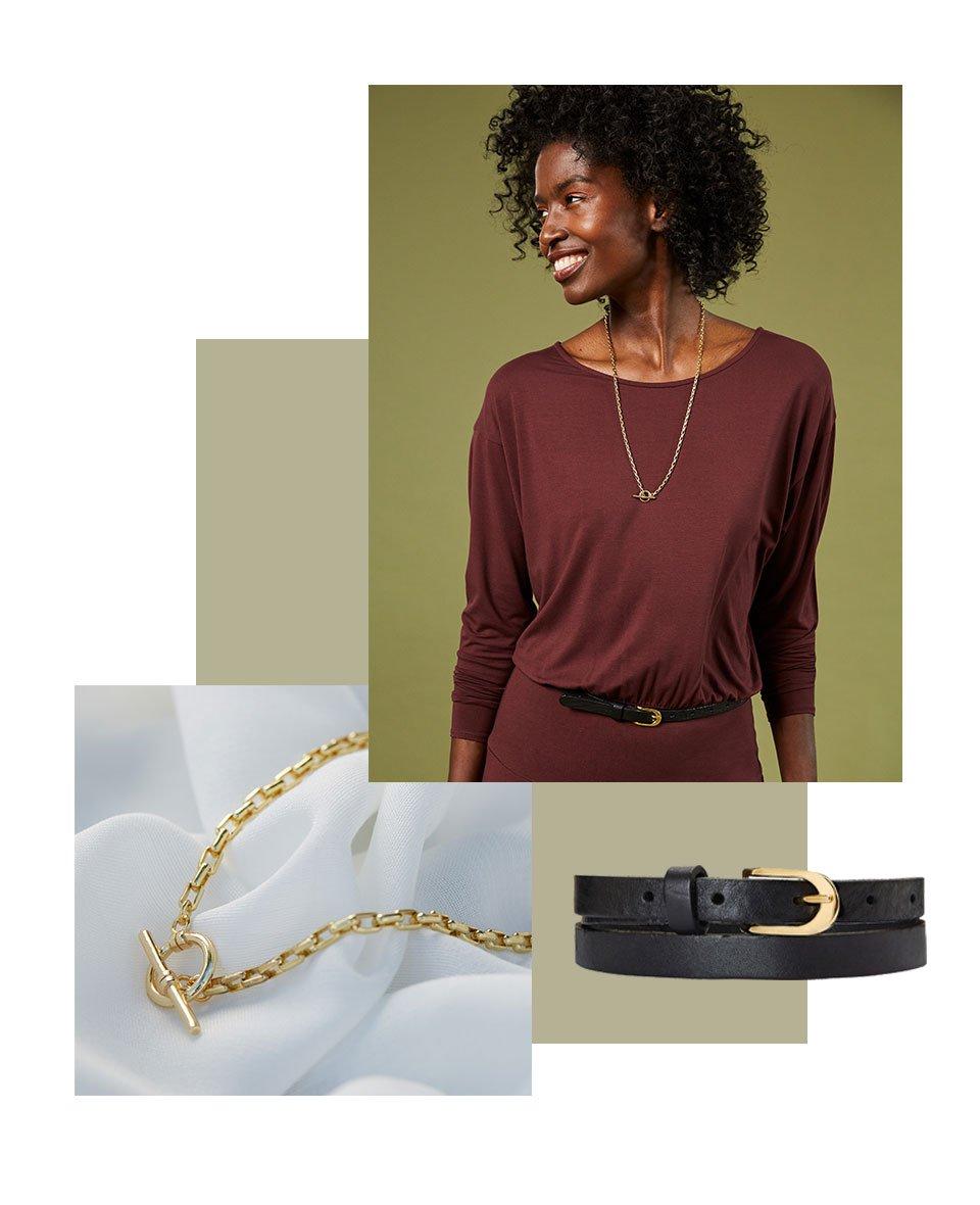 Shop Baukjen Leather Skinny Belt Caviar Black, Luisa Necklace Gold, Hailey Ecovero™ Dress Redwood and more