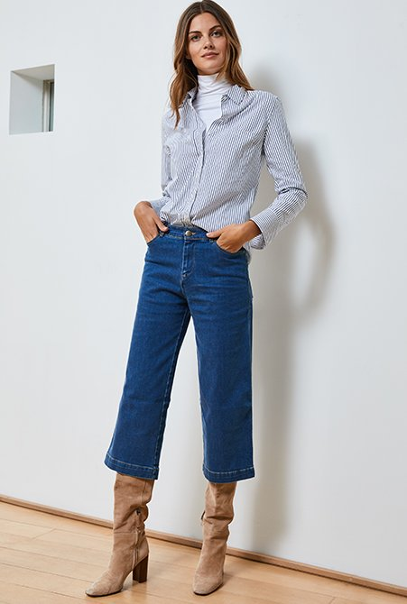 Shop Claudia Shirt White & Navy Fine Stripe, Baukjen Turtleneck Soft White, Gail Organic Jean Washed Indigo and more
