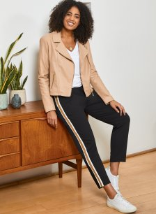 Shop Everyday Leather Biker Jacket Sand and more