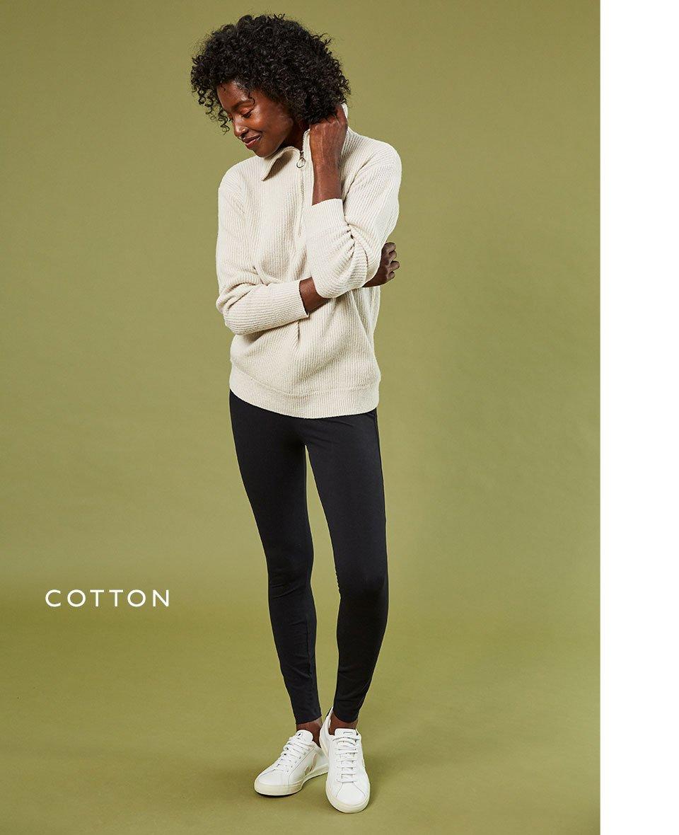 Shop Baukjen Organic Cotton Leggings Caviar Black, Nadine Recycled Wool Jumper Cream and more