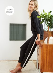 Shop Chelsea Pant Caviar Black with White and more