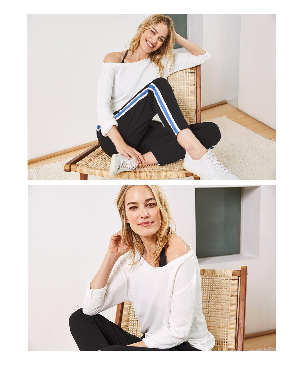 Shop Georgie Pant Black with Soft White & Dusk Blue, Tess Sweatshirt Soft White and more