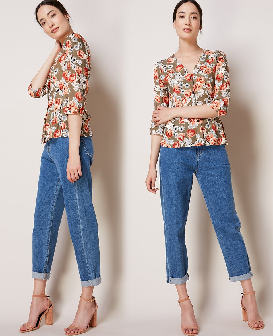 Shop Rosemary Blouse Khaki & Rose Bloom, The Relaxed Jean Washed Blue and more