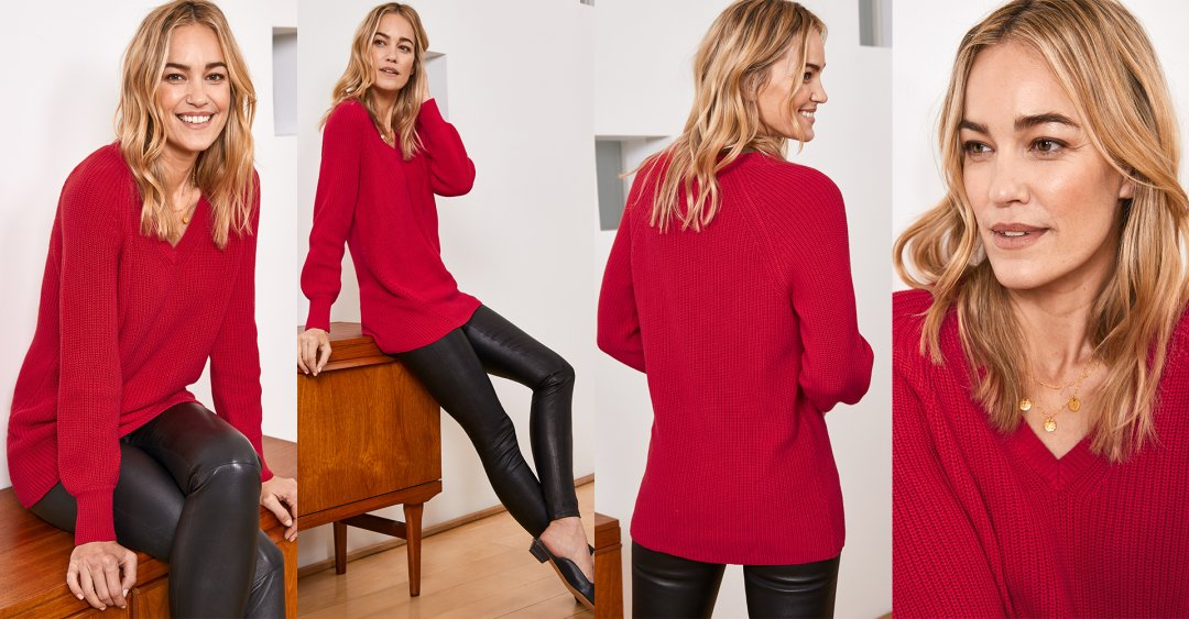 Shop Liv Leather Leggings Caviar Black, Maggie V Neck Jumper Crimson Red, Juliette Necklace Gold and more
