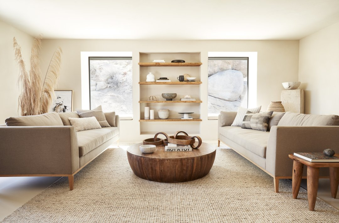 Curalate Reveal: Interactive image with Taos Rug, Arteriors Jacob Round Co...