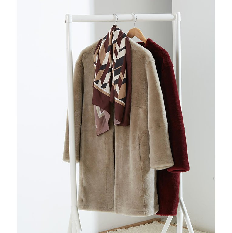 Shop Skye Silk Scarf Redwood Herringbone, The Shearling Coat Redwood and more