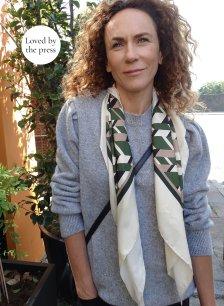 Shop Rey Silk Scarf Khaki & Beige Herringbone and more