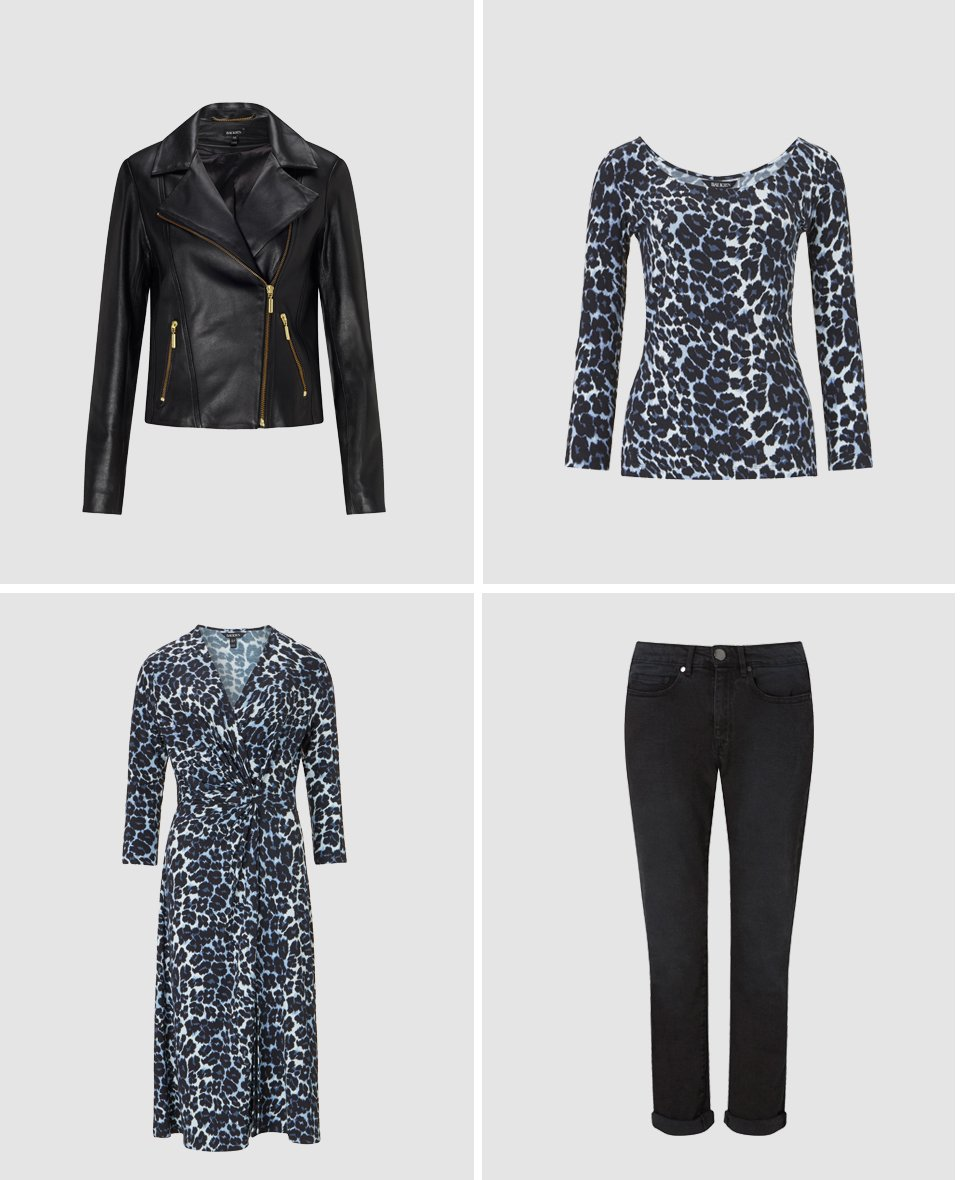 Shop Everyday Biker Jacket, Ophelia Ballet Top Blue Leopard Print, Ophelia Dress Blue Leopard Print, The Boyfriend Jean Black Wash and more